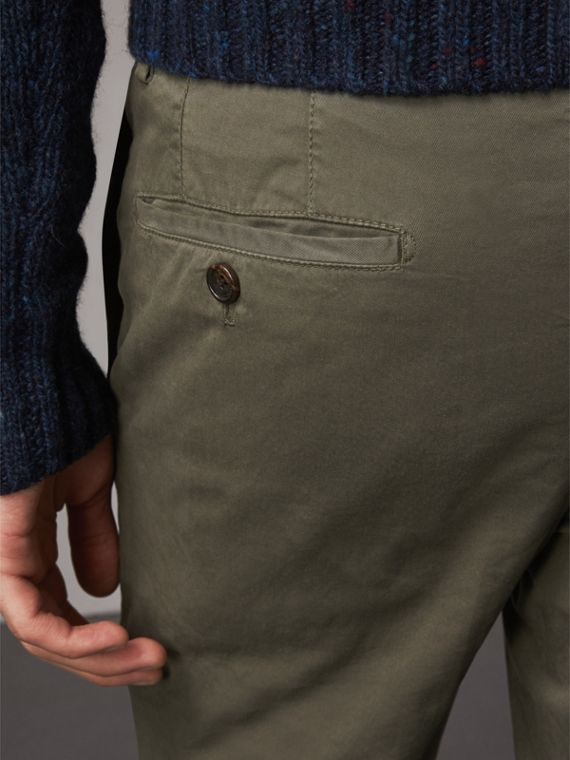 Slim Fit Stretch Cotton Chinos in Slate Green - Men | Burberry Canada - cell image 2