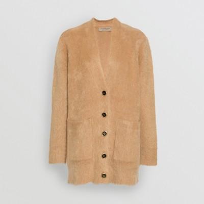 Burberry - Rebeca con cuello de pico en mezcla de seda, angora y lana - 4