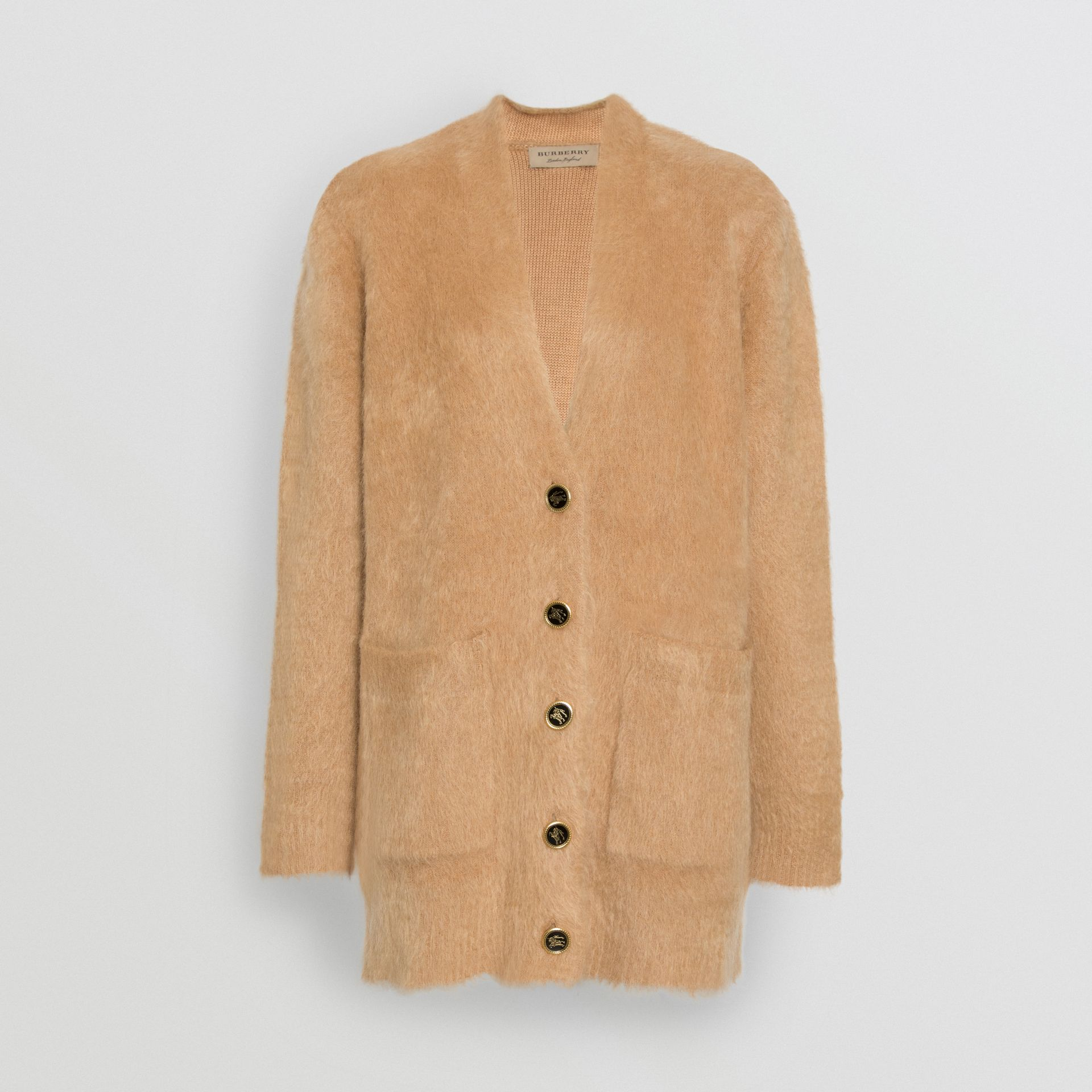 Silk Mohair Wool Blend V-neck Cardigan in Light Camel - Women | Burberry Australia - gallery image 3