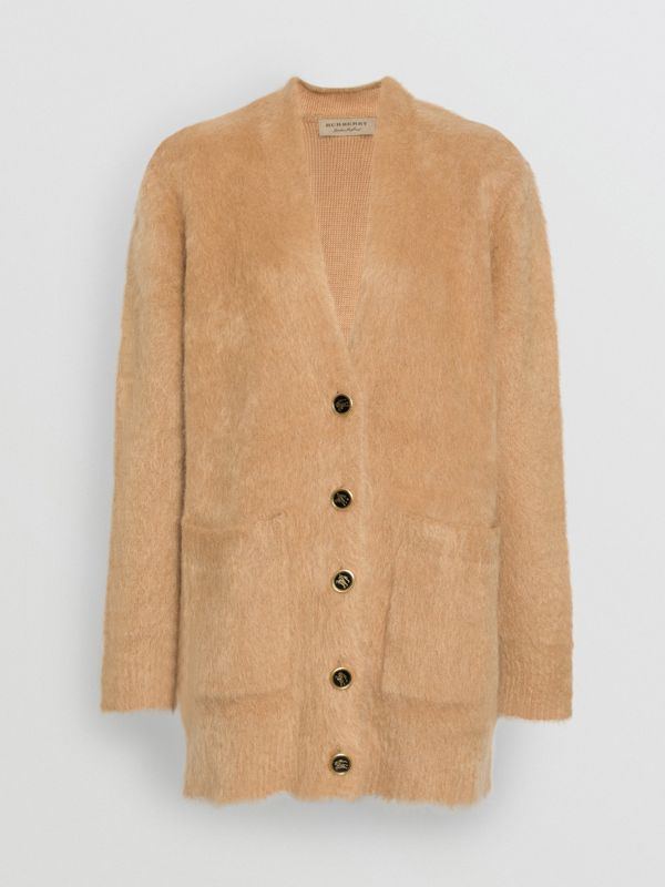 Silk Mohair Wool Blend V-neck Cardigan in Light Camel - Women | Burberry Australia - cell image 3