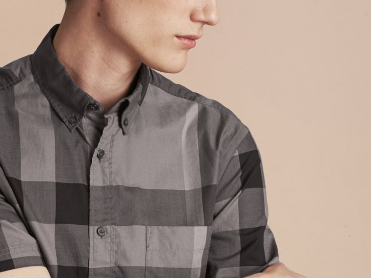 Charcoal Short-sleeved Check Cotton Shirt Charcoal - cell image 4