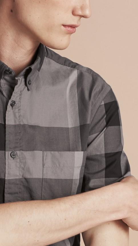 Charcoal Short-sleeved Check Cotton Shirt Charcoal - Image 5