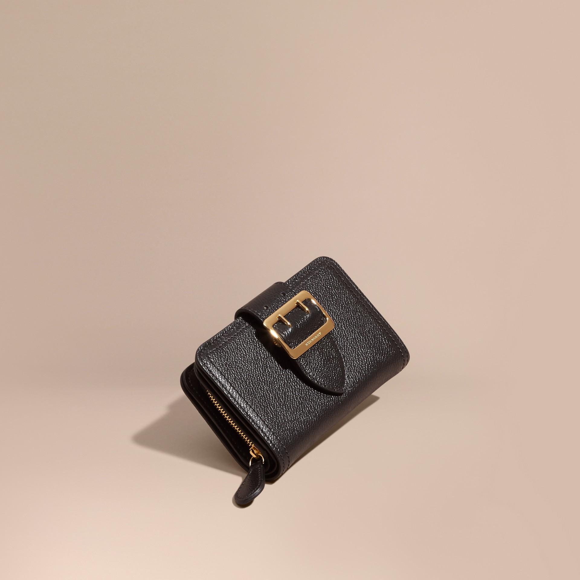 Black Buckle Detail Grainy Leather Wallet Black - gallery image 1