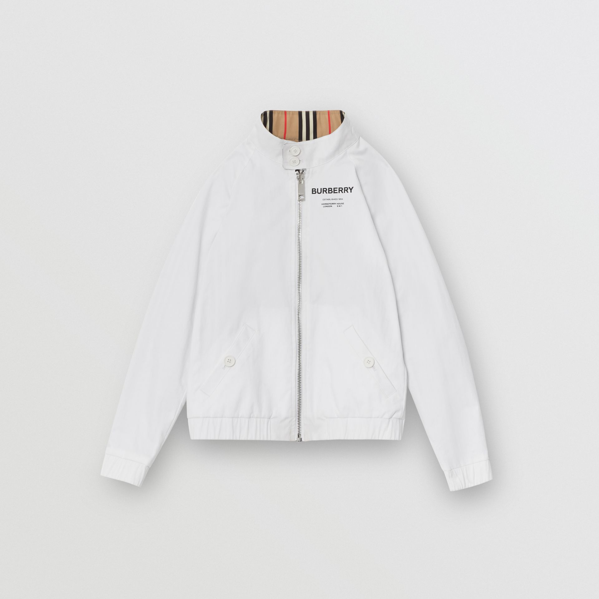 Reversible Icon Stripe Cotton Harrington Jacket in Optic White | Burberry Canada - gallery image 3