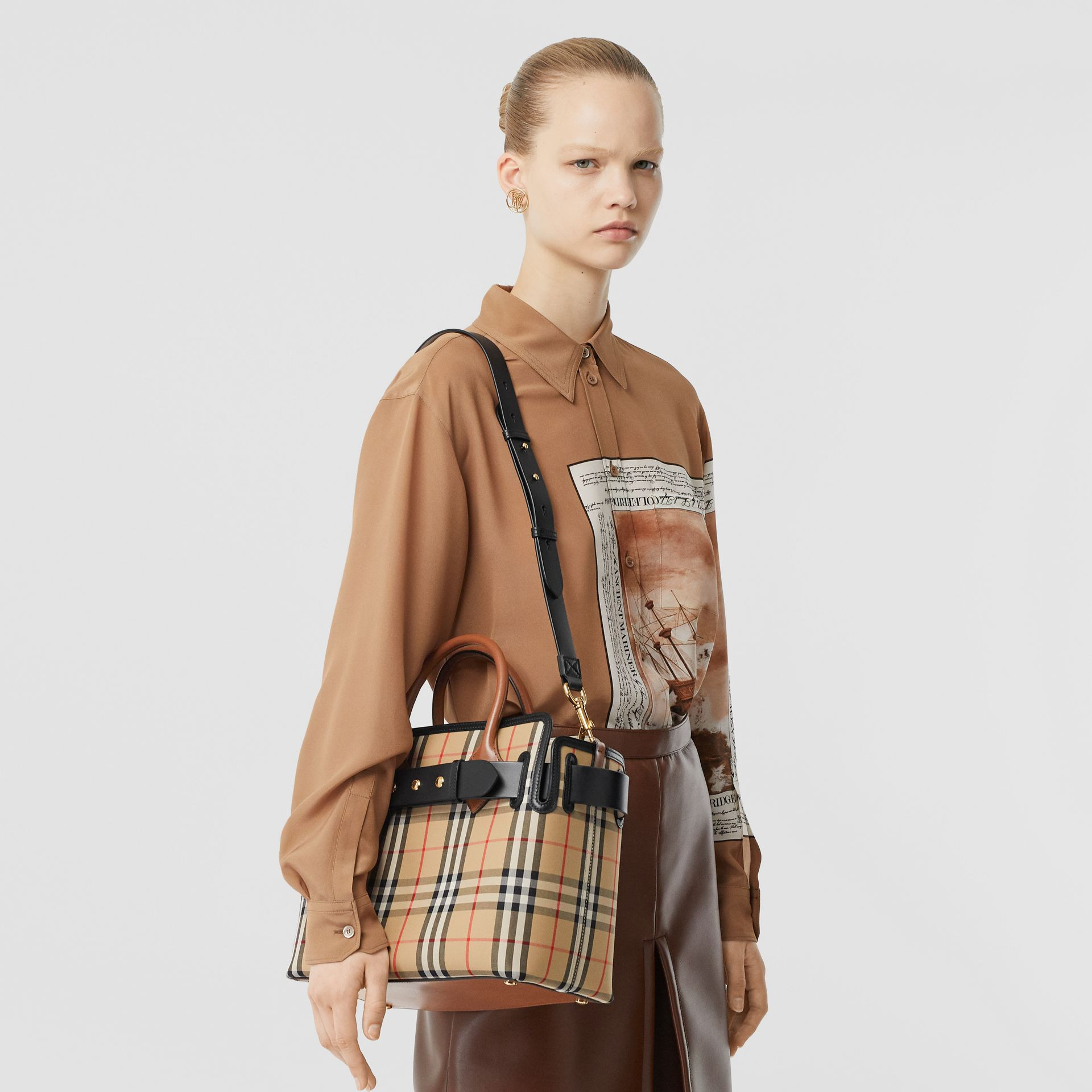 The Small Vintage Check Triple Stud Belt Bag in Archive Beige - Women | Burberry Singapore - gallery image 2