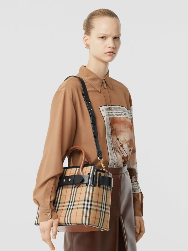 The Small Vintage Check Triple Stud Belt Bag in Archive Beige - Women | Burberry Canada - cell image 2