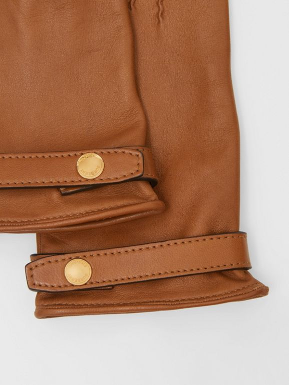Silk-lined Lambskin Gloves in Brown - Women | Burberry - cell image 1