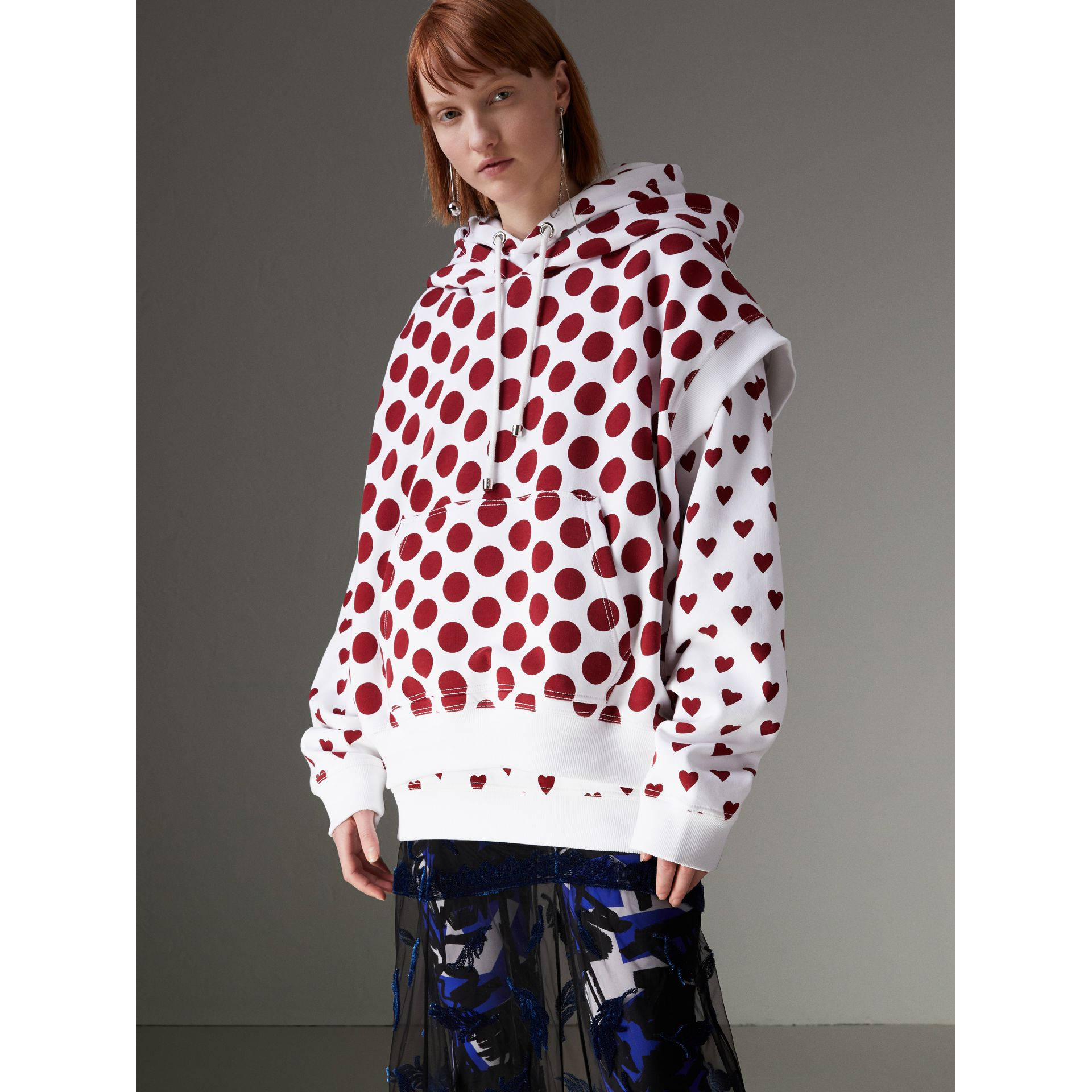 Sweat-shirt à capuche sans manches avec imprimé à pois (Rouge Windsor) - Femme | Burberry Canada - photo de la galerie 5