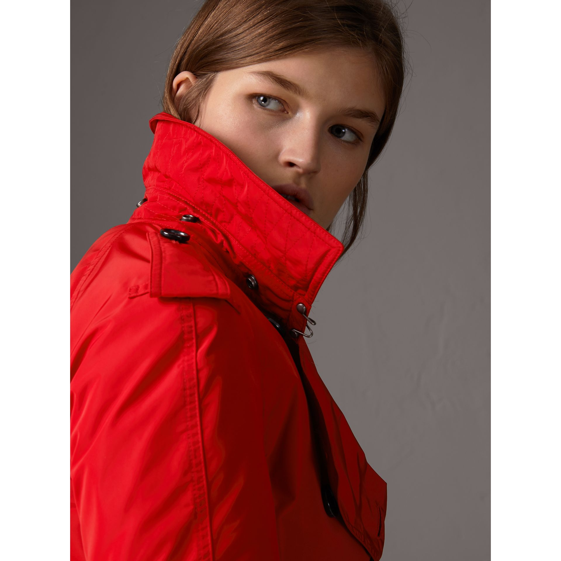 Detachable Hood Taffeta Trench Coat in Military Red - Women | Burberry - gallery image 1
