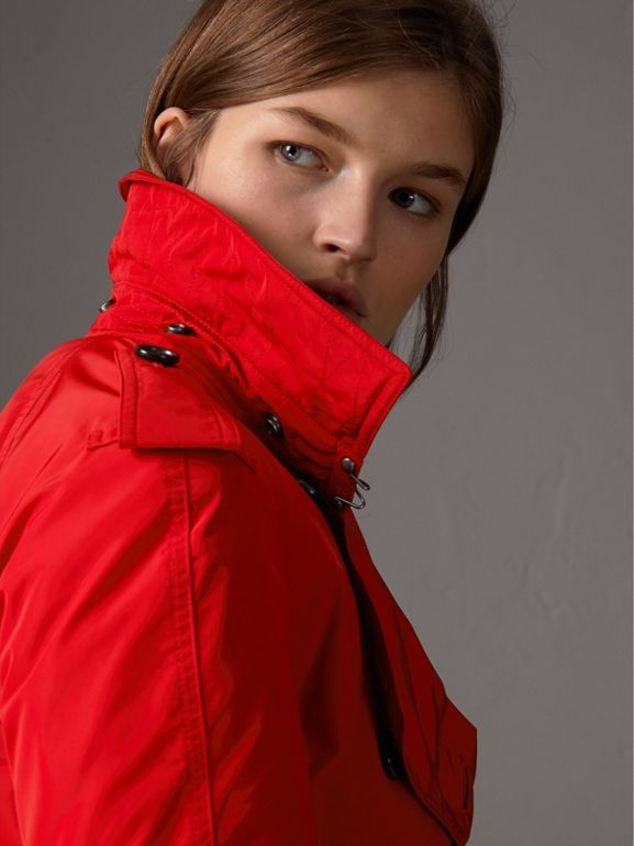 Detachable Hood Taffeta Trench Coat in Military Red - Women | Burberry - cell image 1