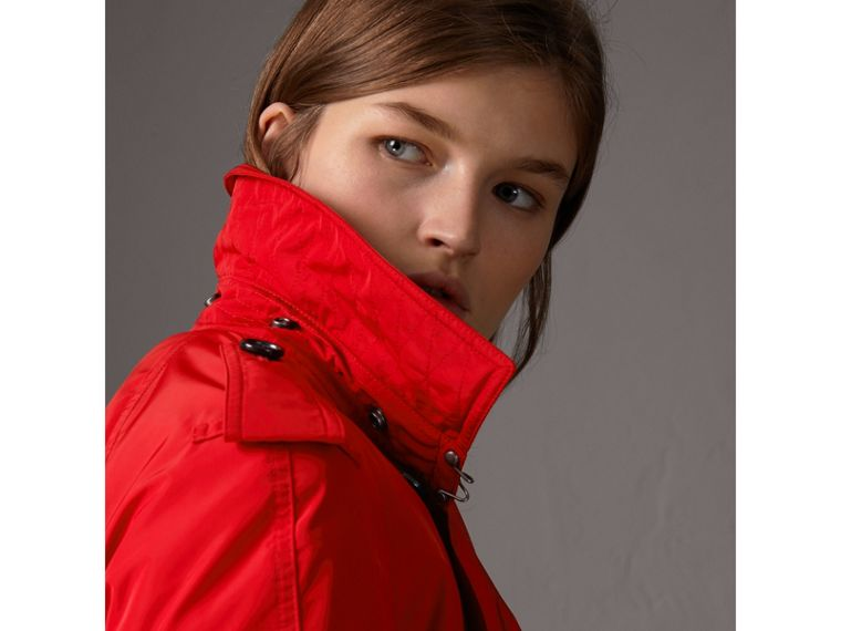 Detachable Hood Taffeta Trench Coat in Military Red - Women | Burberry Canada - cell image 1