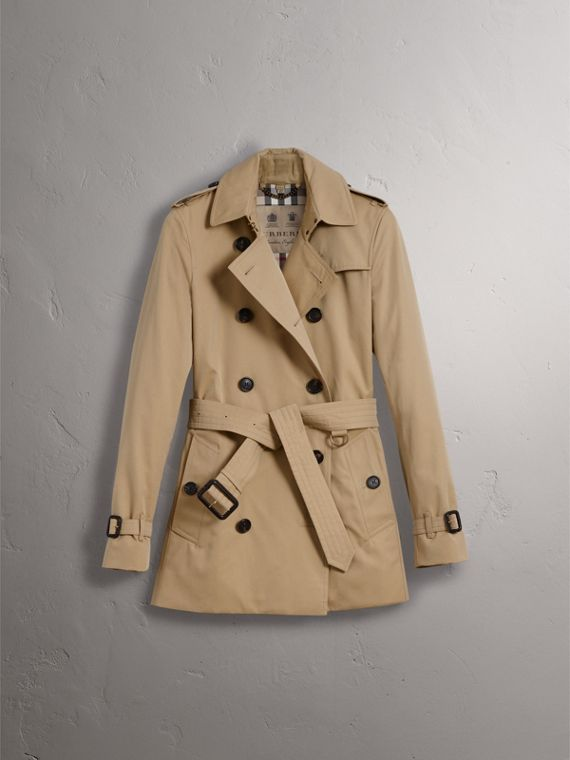 The Kensington – Short Trench Coat in Honey - Women | Burberry - cell image 3