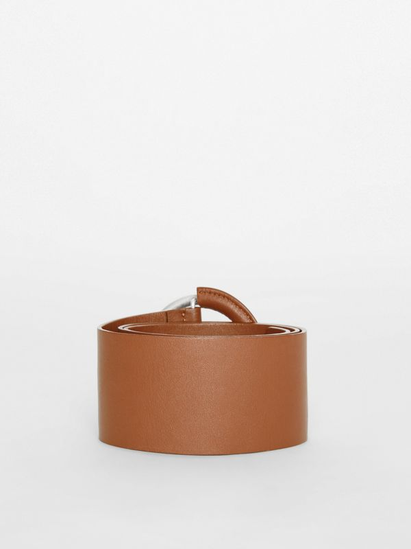 Round Buckle Leather Belt in Tan - Women | Burberry - cell image 3