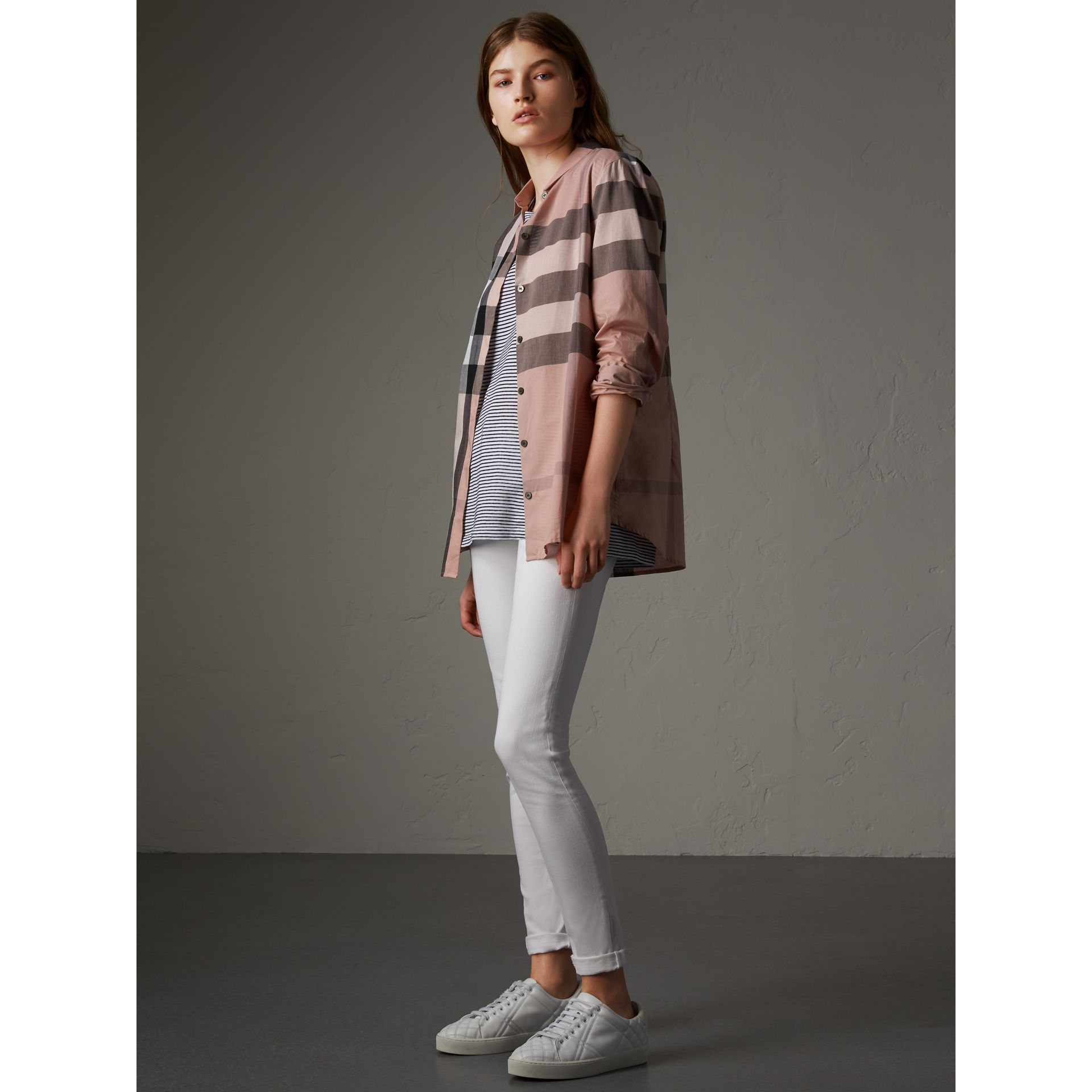 Check Cotton Shirt in Antique Pink - Women | Burberry - gallery image 4