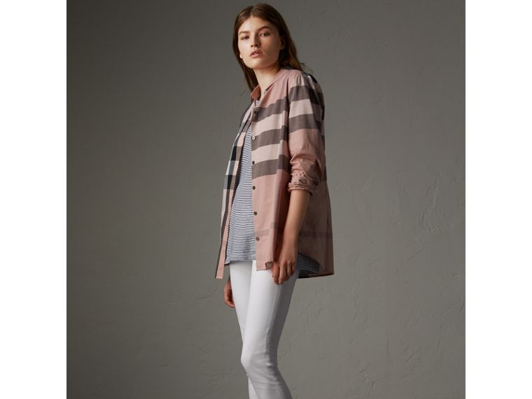 Camicia in cotone con motivo check (Rosa Antico) - Donna | Burberry - cell image 4