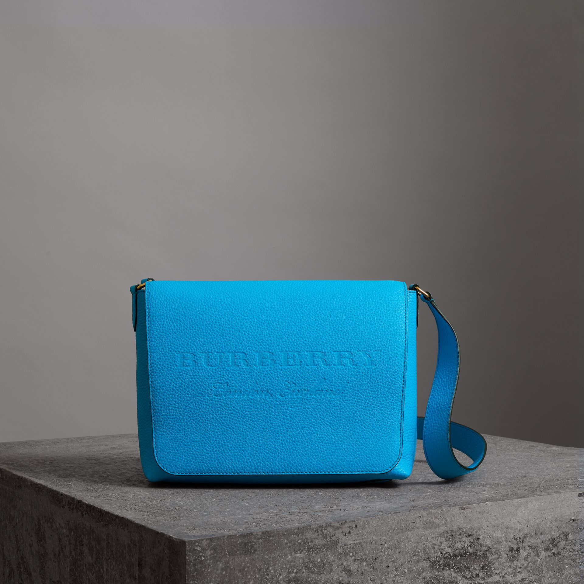 Medium Embossed Leather Messenger Bag in Neon Blue | Burberry - gallery image 0
