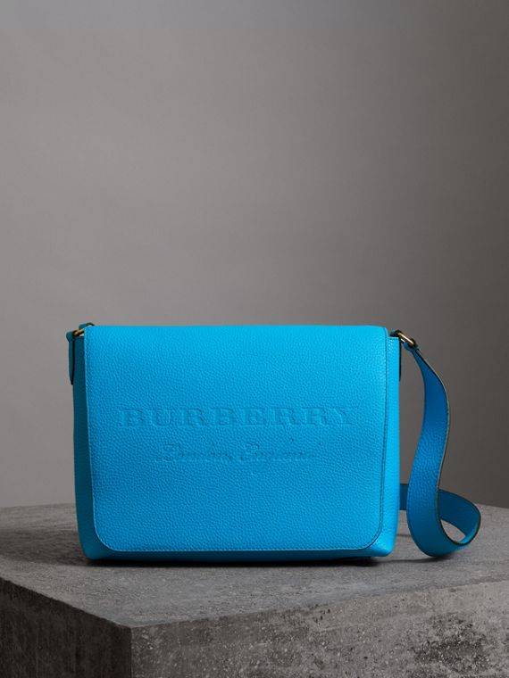 Medium Embossed Leather Messenger Bag in Neon Blue