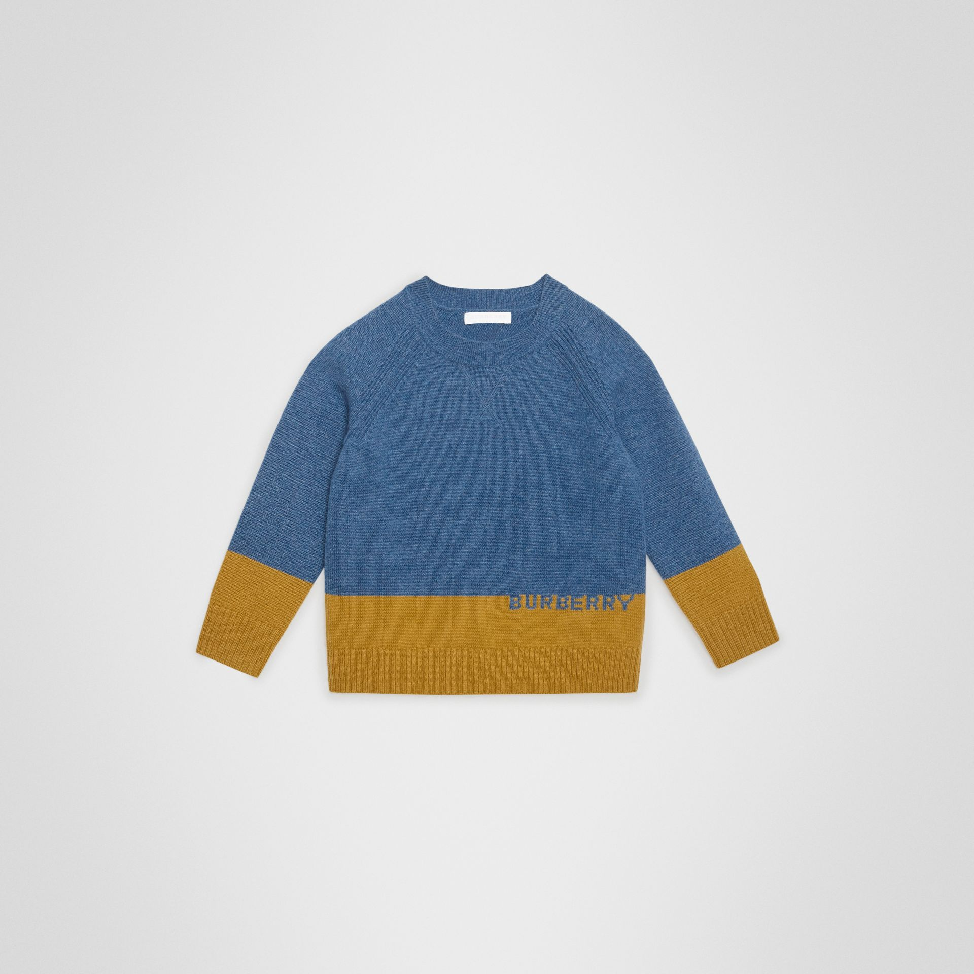 Logo Intarsia Cashmere Sweater in Dusty Blue Melange | Burberry Singapore - gallery image 0
