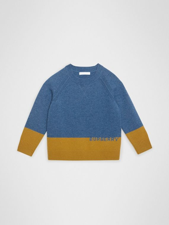Logo Intarsia Cashmere Sweater in Dusty Blue Melange