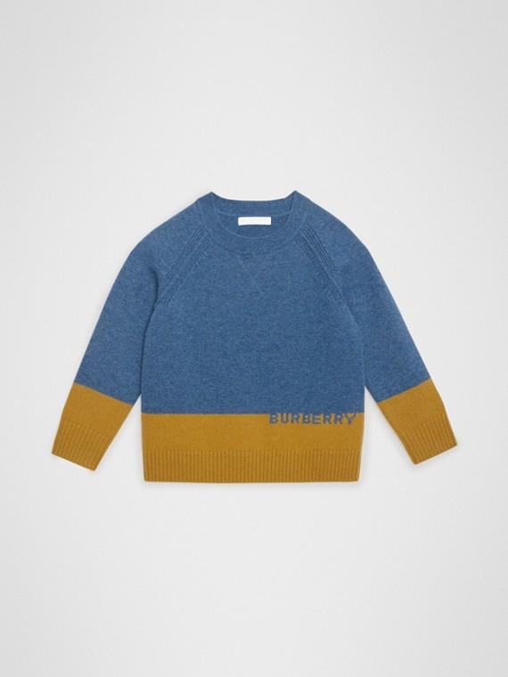 로고 인타르시아 캐시미어 스웨터 (더스티 블루 멜란지)