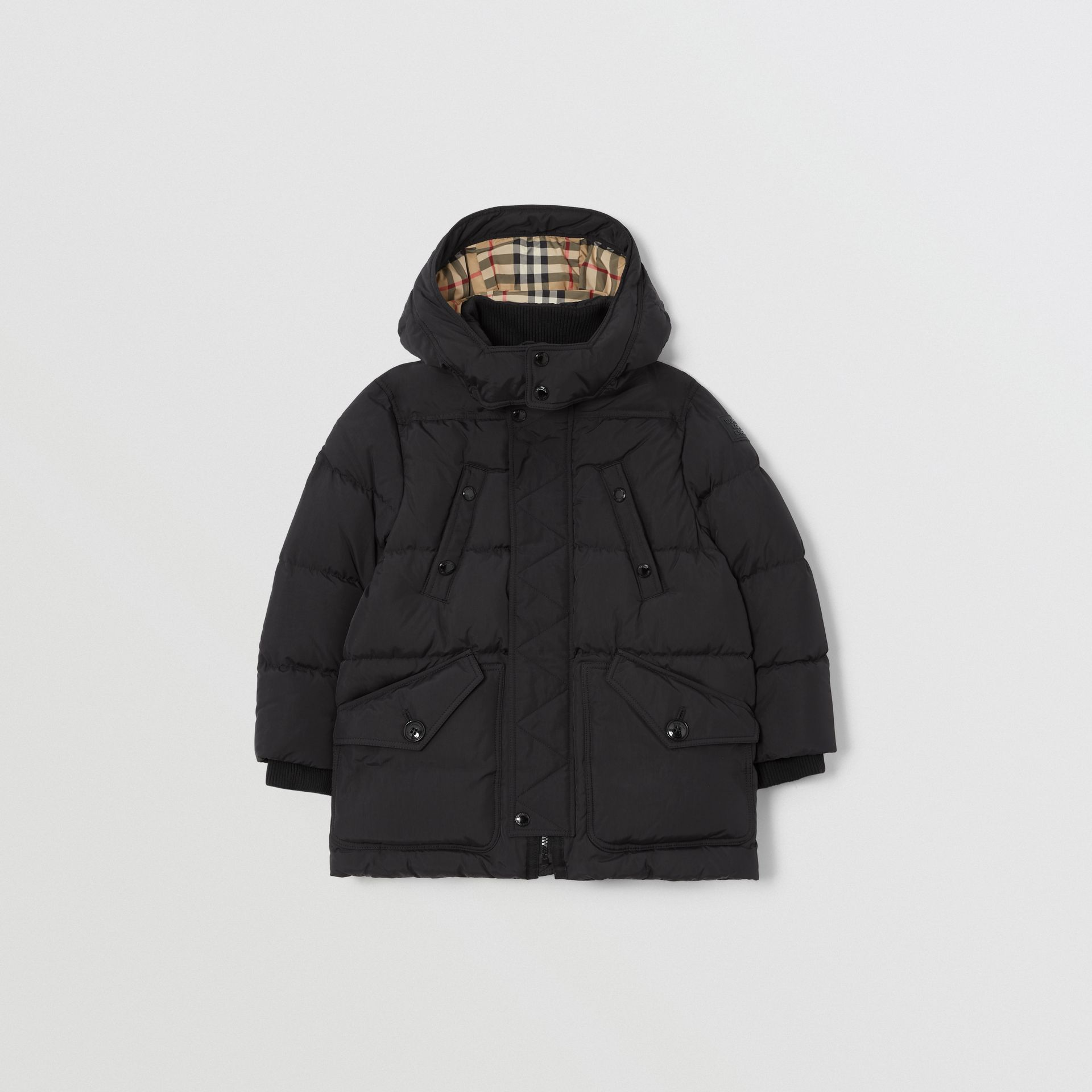 Detachable Hood Down-filled Puffer Coat in Black | Burberry - gallery image 0
