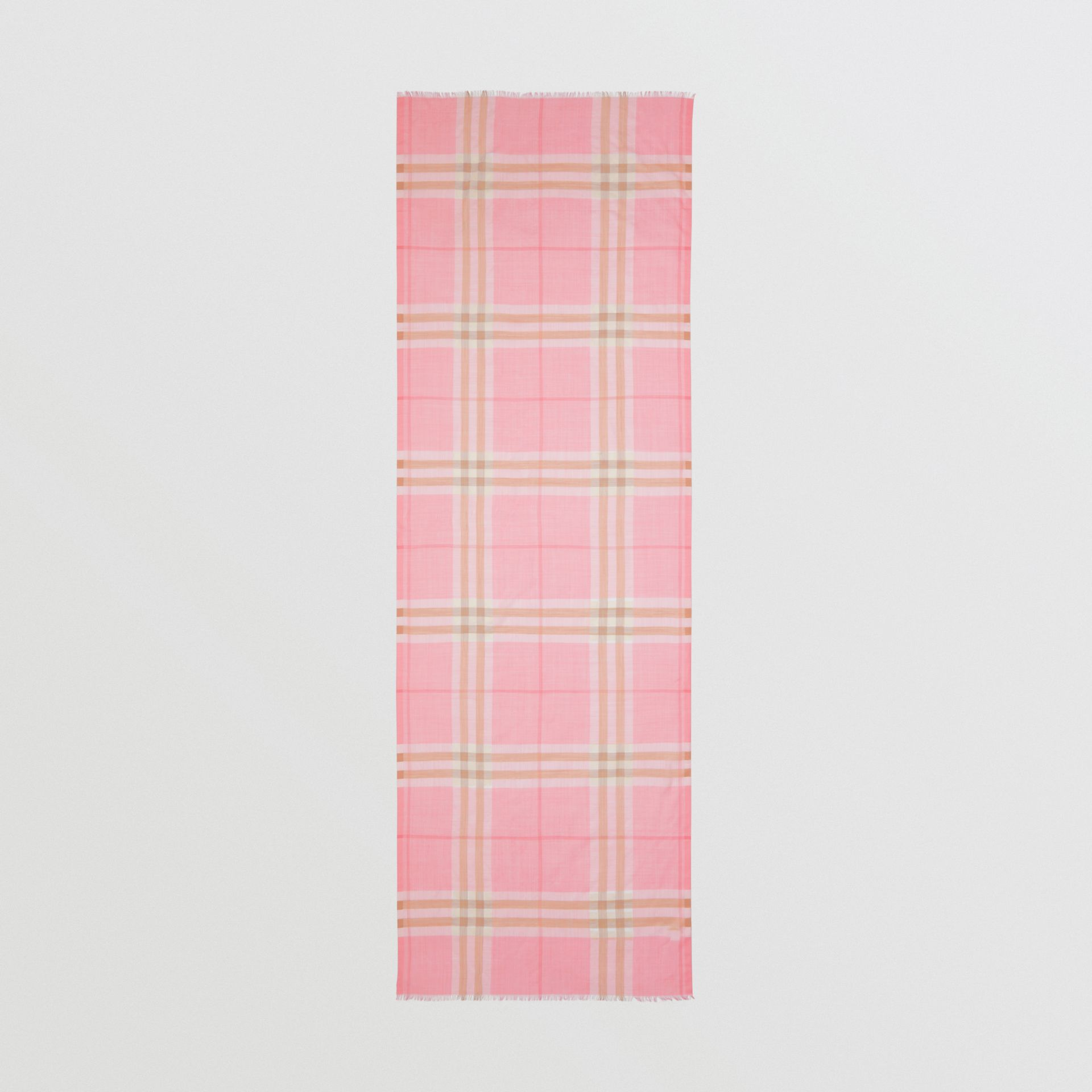 Lightweight Check Wool Silk Scarf in Candy Pink | Burberry Canada - gallery image 3