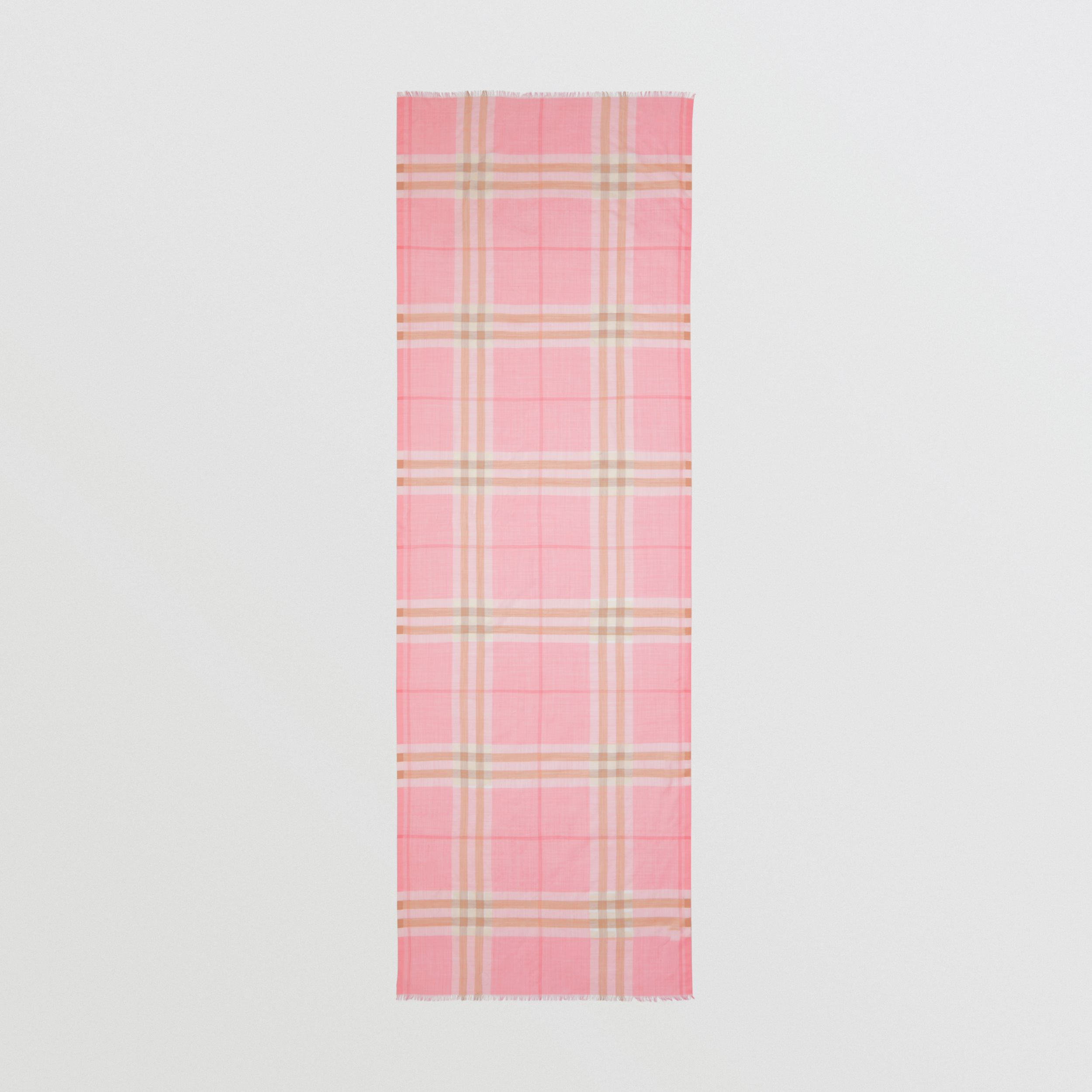 Lightweight Check Wool Silk Scarf in Candy Pink | Burberry - 4