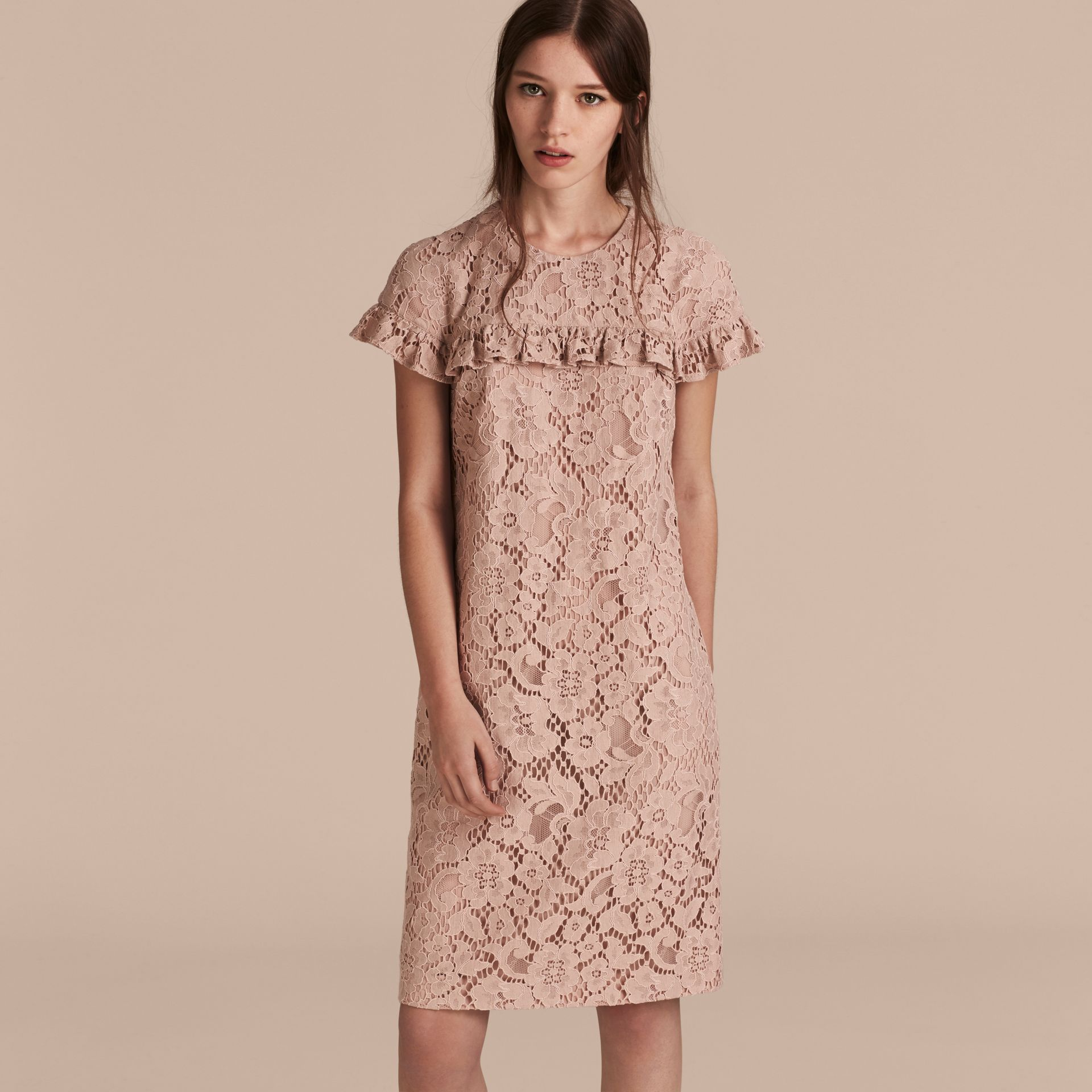 Nude Mid-length Lace Shift Dress with Ruffle Detail - gallery image 6