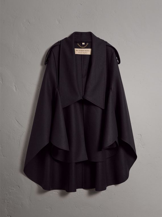 Wool Cashmere Blend Military Cape in True Navy - Women | Burberry United Kingdom - cell image 3