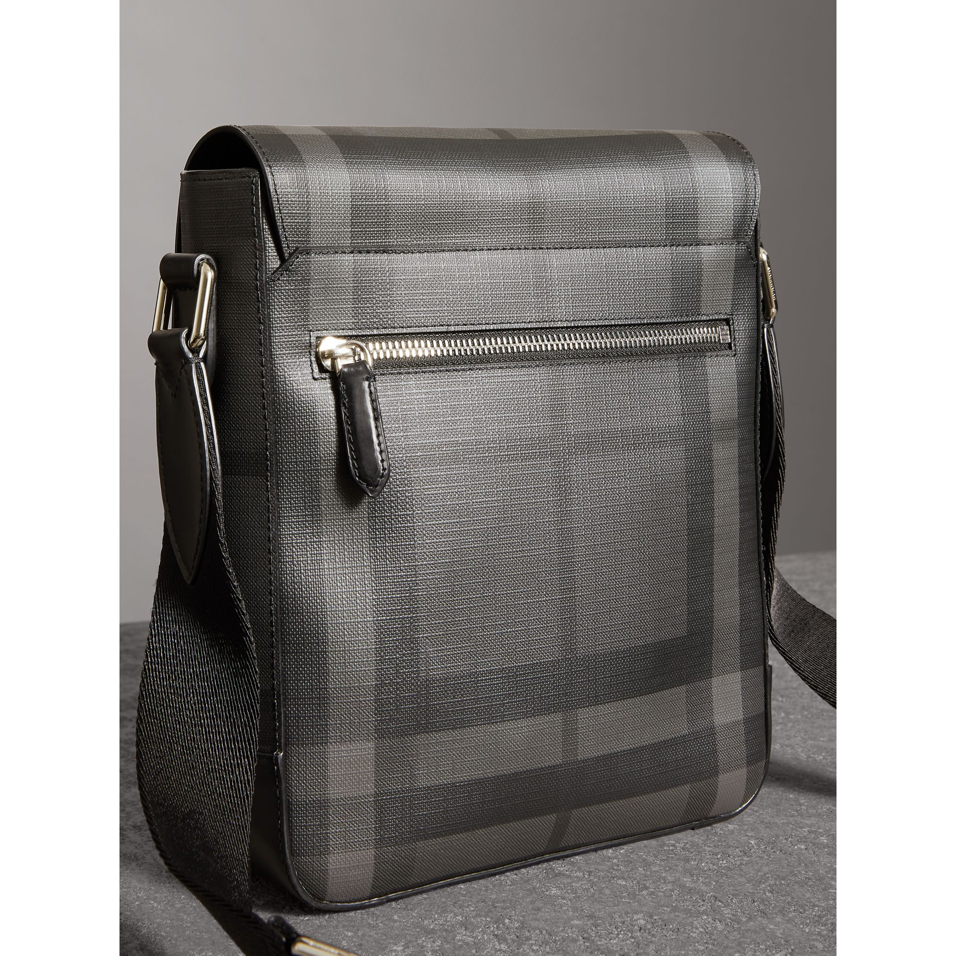 Tag Print London Check Crossbody Bag in Charcoal - Men | Burberry - gallery image 4