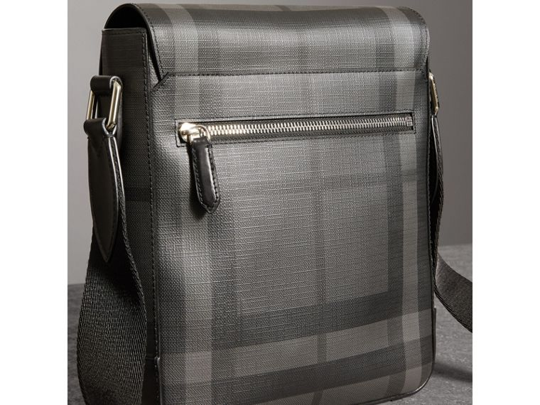 Tag Print London Check Crossbody Bag in Charcoal - Men | Burberry - cell image 4