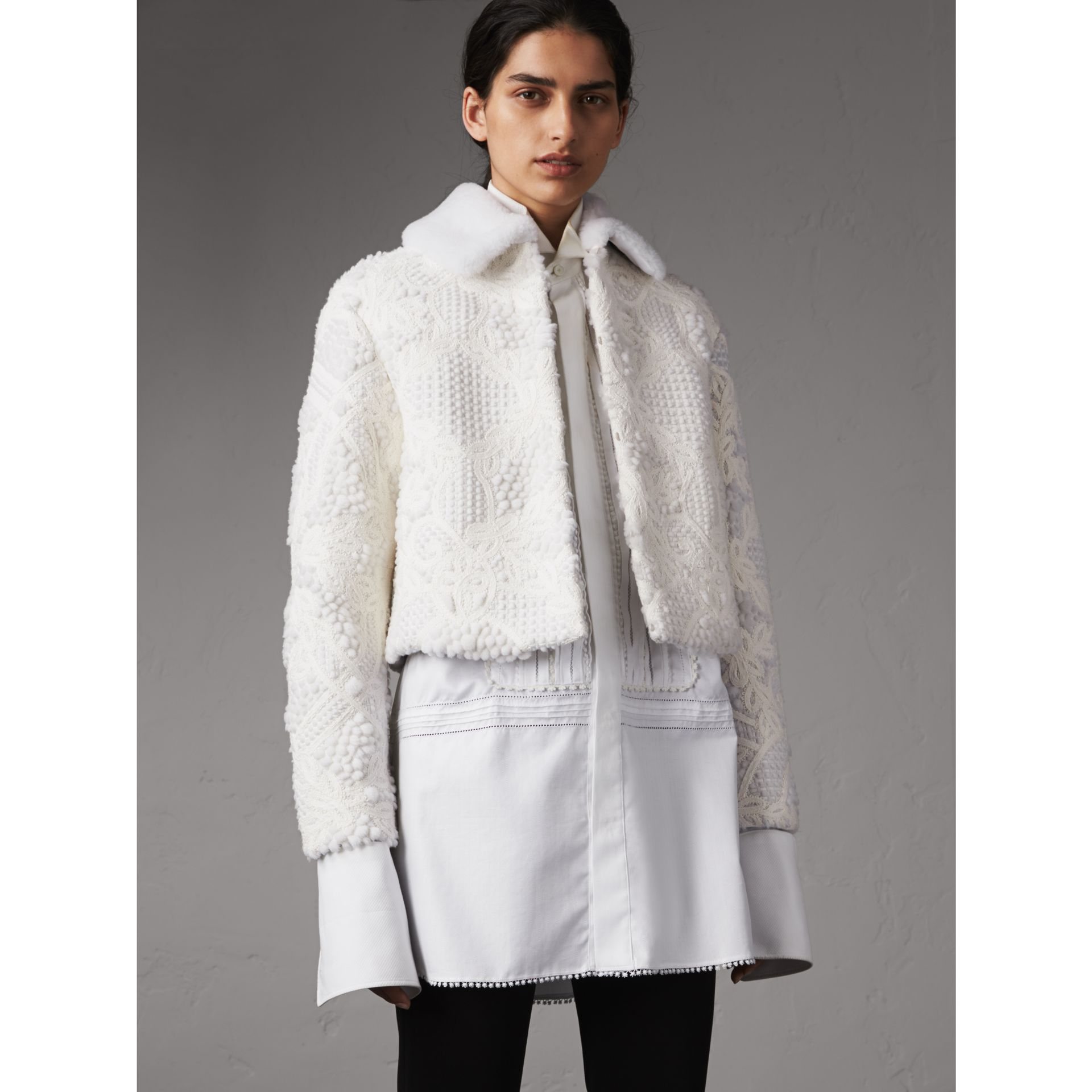 Macramé Lace-embellished Shearling Jacket in White - Women | Burberry Singapore - gallery image 1
