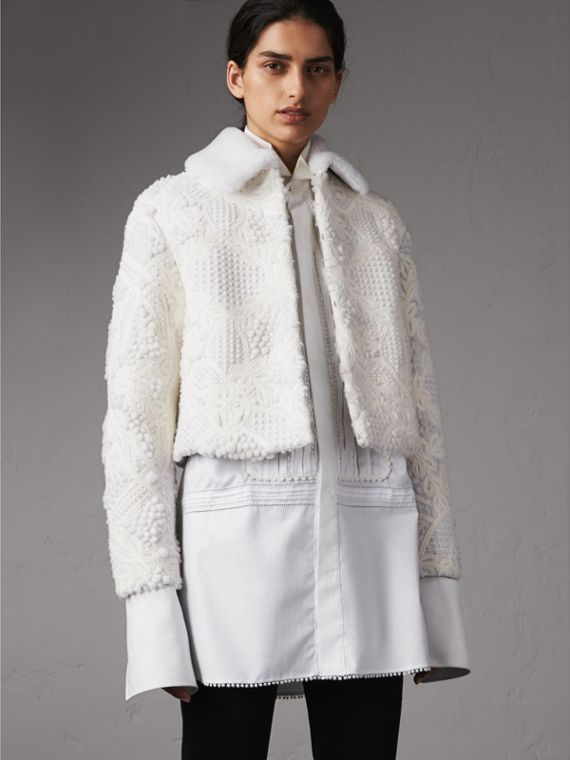 Macramé Lace-embellished Shearling Jacket in White