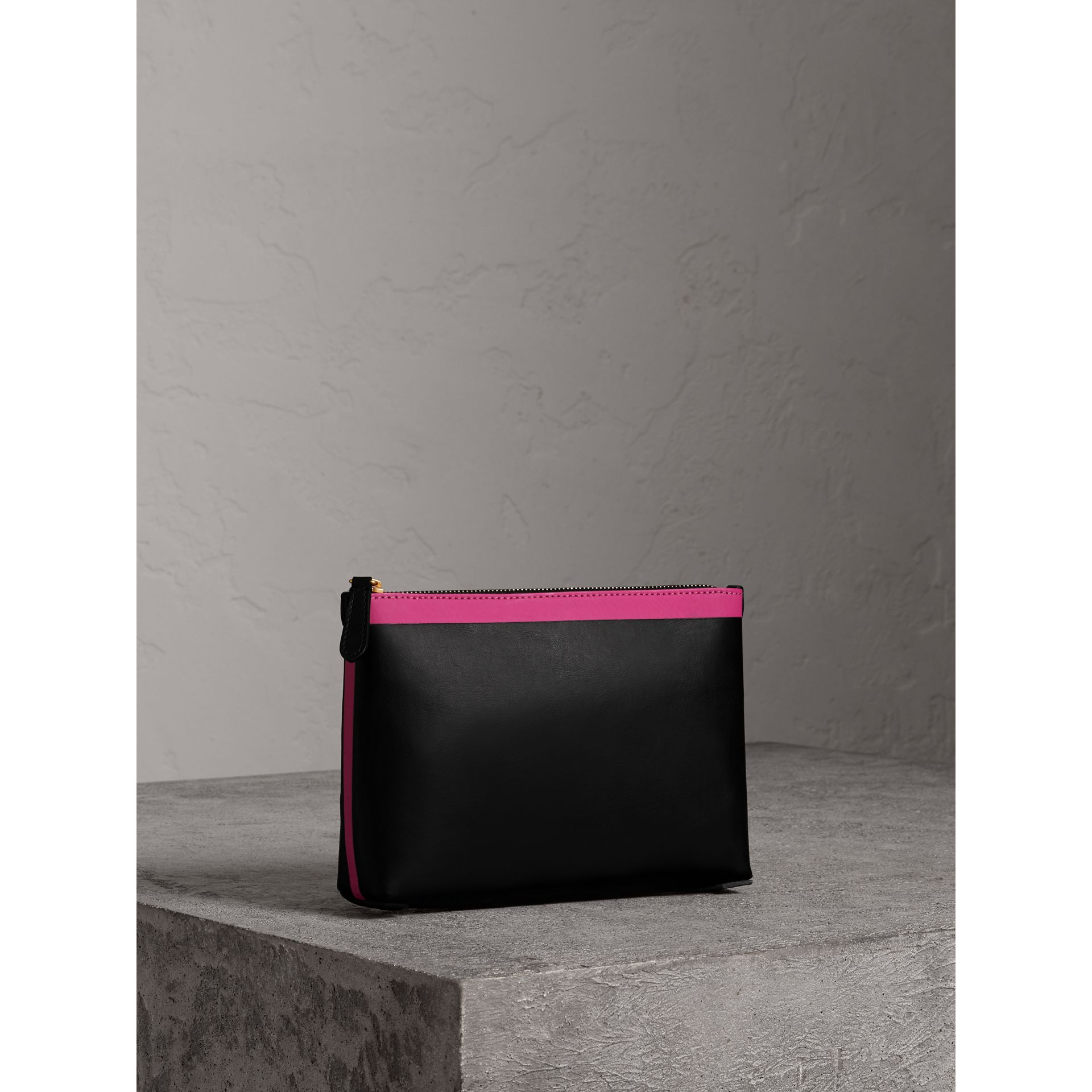Bonded Leather Zip Pouch in Black/neon Pink - Women | Burberry - gallery image 6