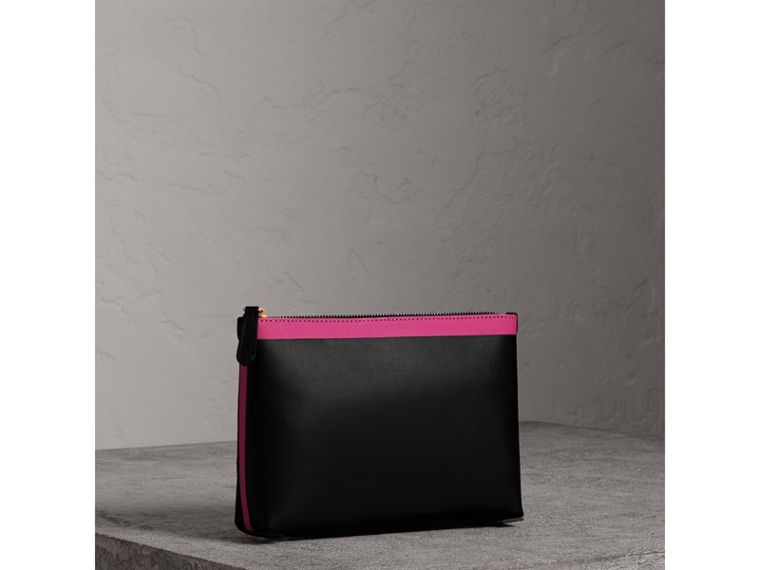 Bonded Leather Zip Pouch in Black/neon Pink - Women | Burberry - cell image 4