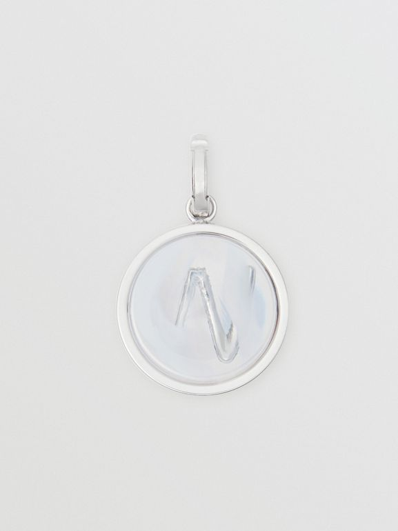 Marbled Resin 'W' Alphabet Charm in Palladio/nacre - Women | Burberry - cell image 1