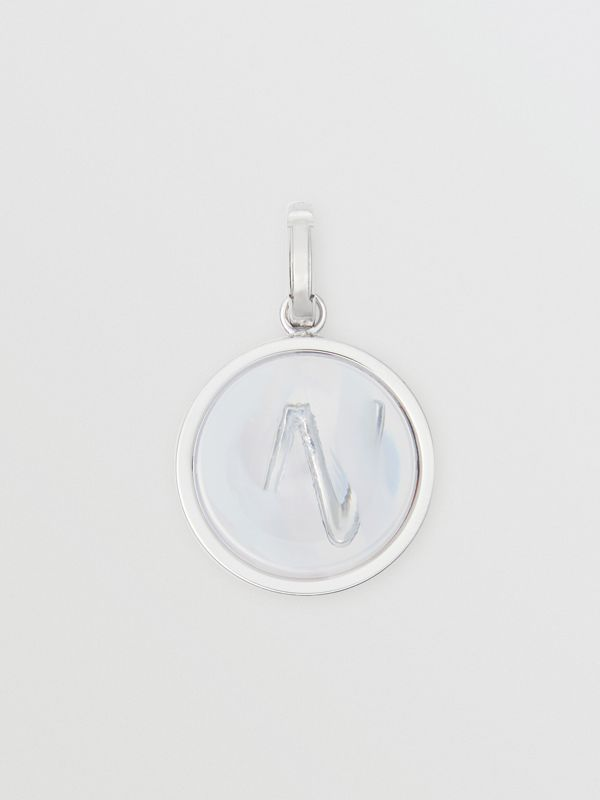 Marbled Resin 'W' Alphabet Charm in Palladio/nacre - Women | Burberry United Kingdom - cell image 3