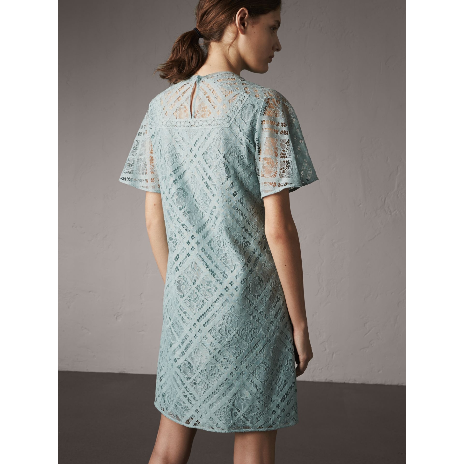 Flare-sleeve Check Lace Shift Dress in Pale Slate Blue - Women | Burberry Canada - gallery image 3