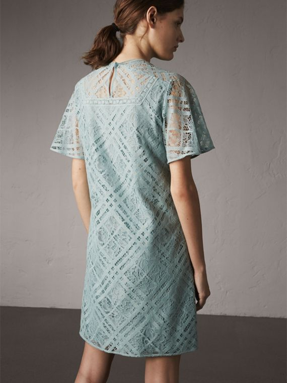 Flare-sleeve Check Lace Shift Dress in Pale Slate Blue - Women | Burberry - cell image 2