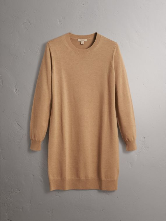 Check Elbow Detail Merino Wool Sweater Dress in Camel - Women | Burberry Canada - cell image 3