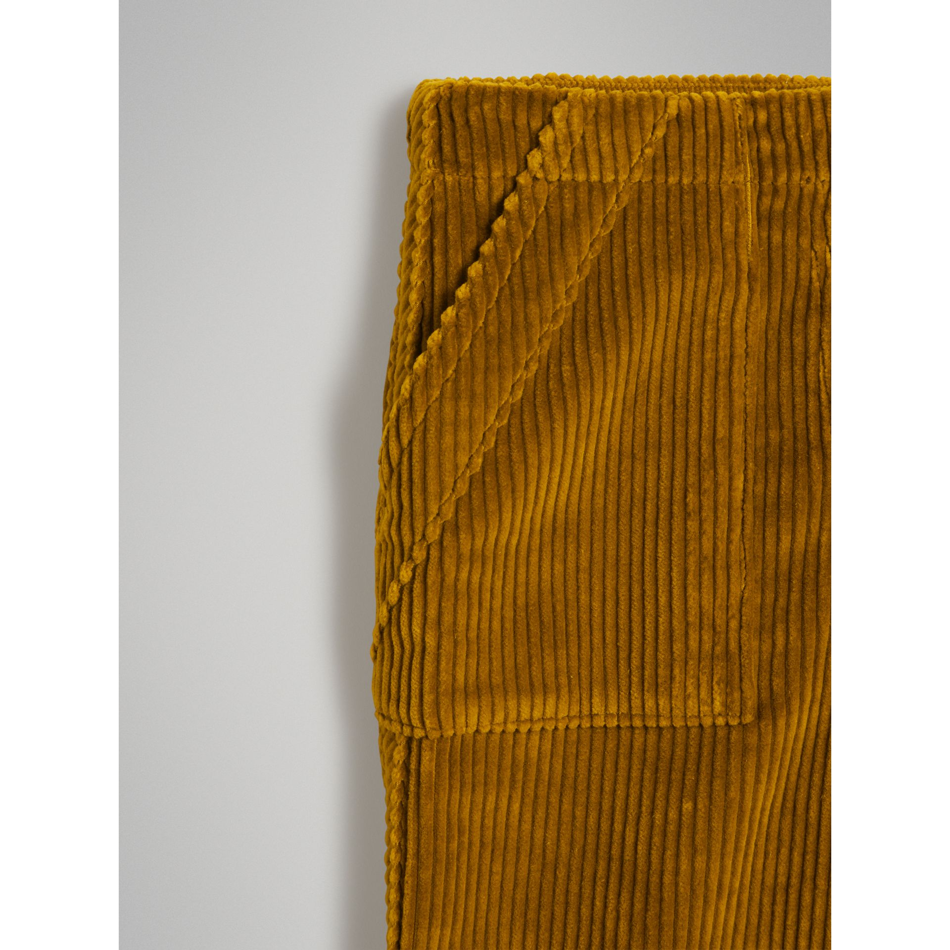 Corduroy Wide-leg Trousers in Ochre | Burberry Singapore - gallery image 4