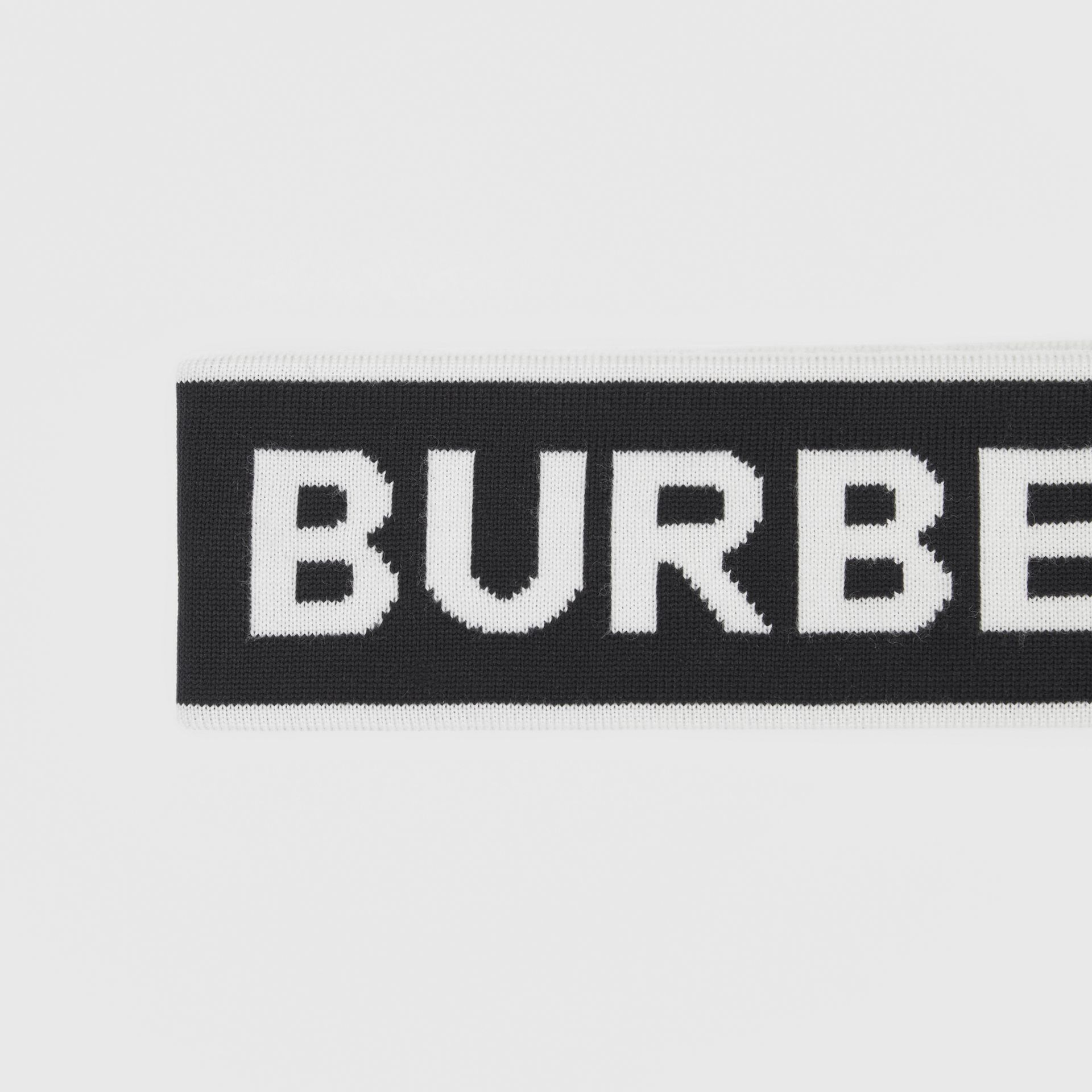 Logo Intarsia Wool Blend Headband in Black/white | Burberry Canada - gallery image 1