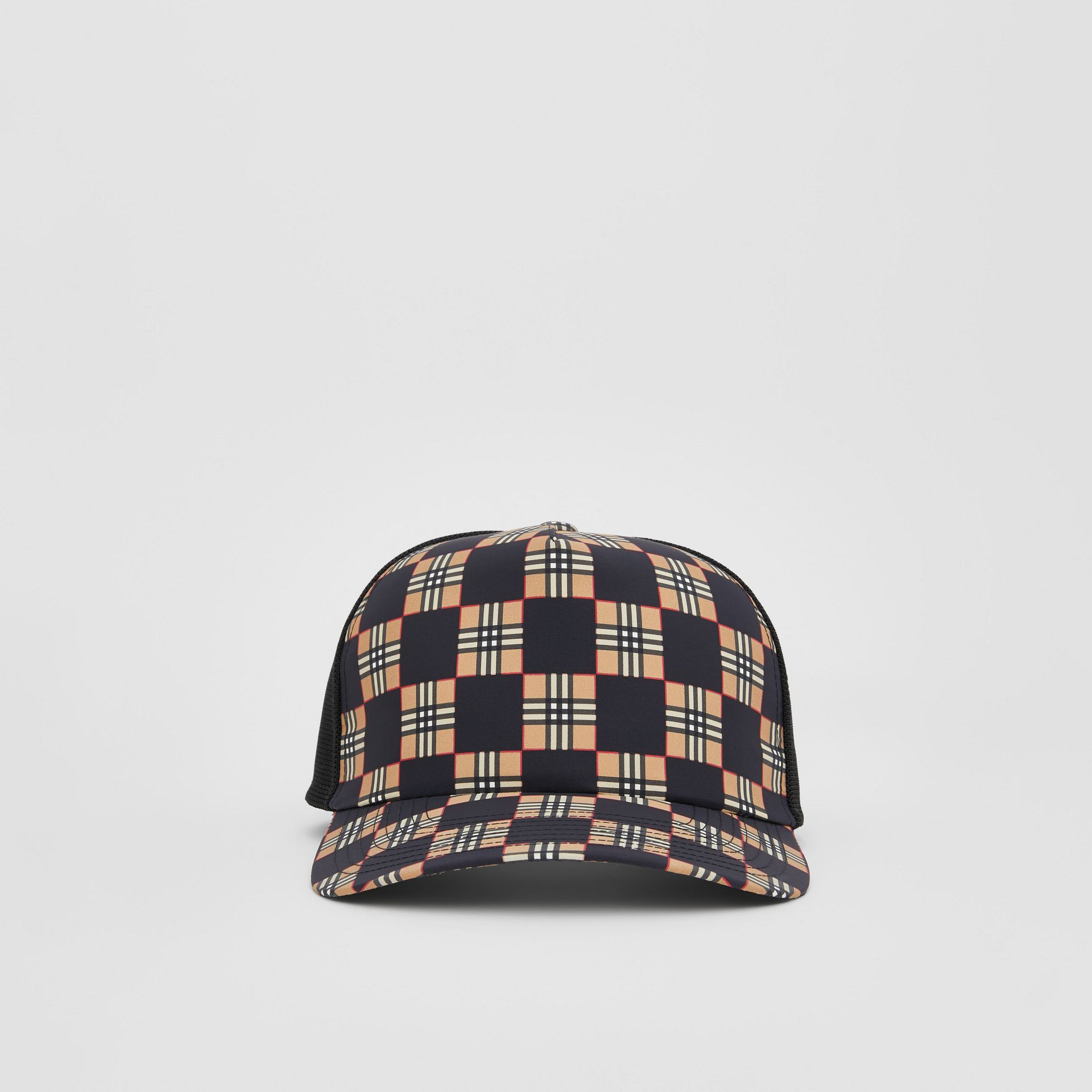 Chequer ECONYL® and Mesh Baseball Cap in Black/archive Beige | Burberry United Kingdom - gallery image 3