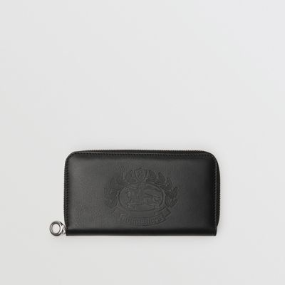 Embossed Crest Two-Tone Leather Ziparound Wallet, Black
