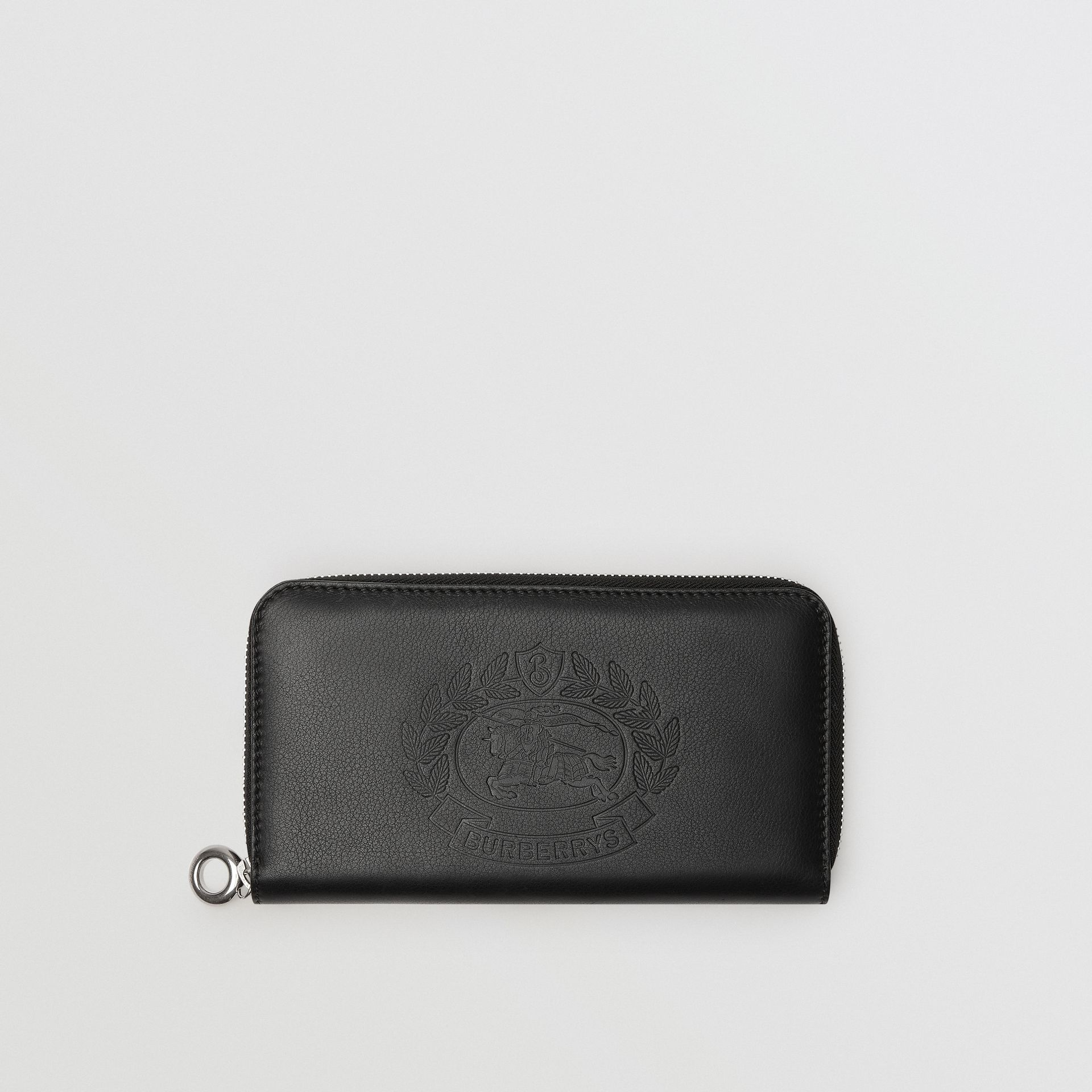 Embossed Crest Two-tone Leather Ziparound Wallet in Black - Women | Burberry - gallery image 0