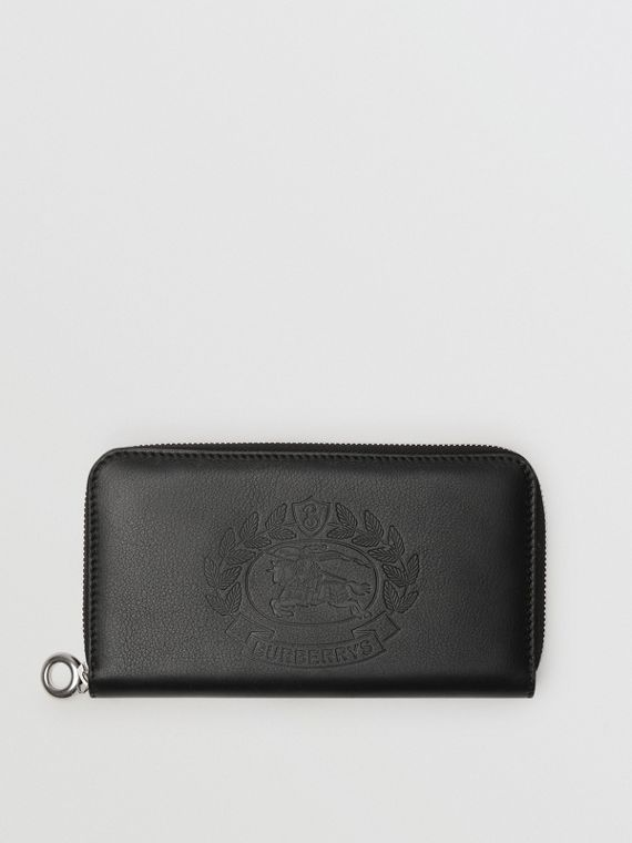 Embossed Crest Two-tone Leather Ziparound Wallet in Black