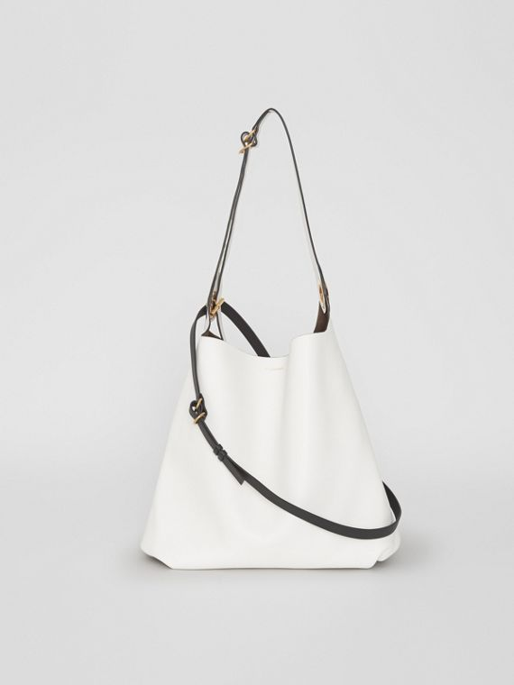 The Leather Grommet Detail Bag in Chalk White