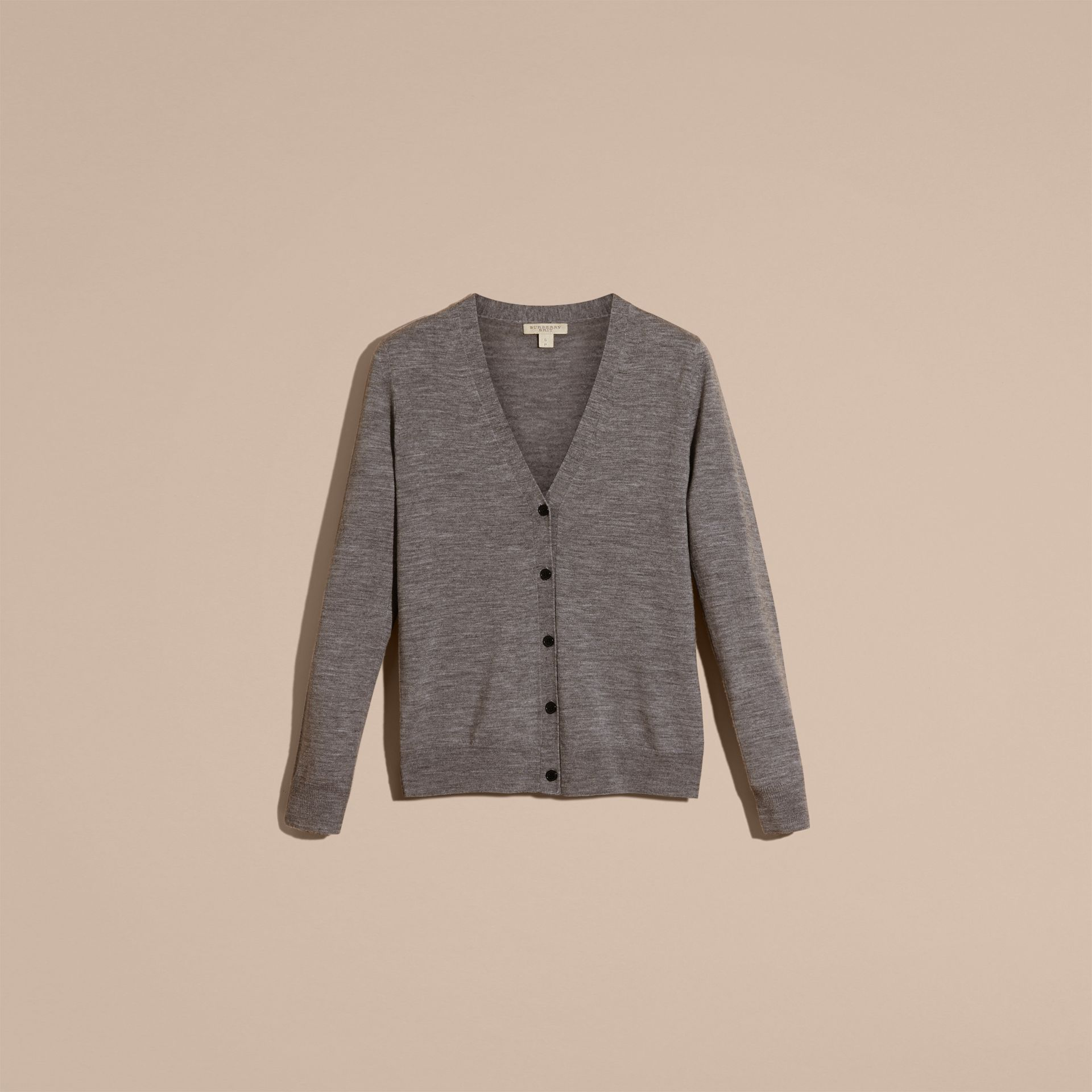 Check Detail Merino Wool Cardigan in Mid Grey Melange - gallery image 4
