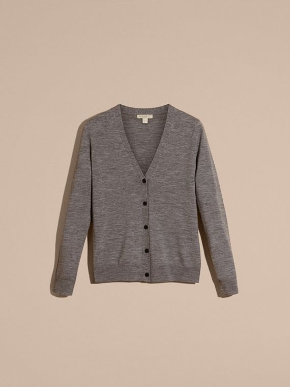 Check Detail Merino Wool Cardigan in Mid Grey Melange - Women | Burberry Canada - cell image 3