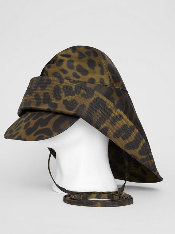 Animal Print Rain Hat in Light Green